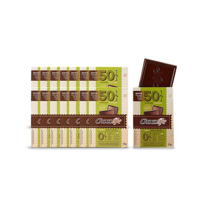 Combo-Chocolate-Zero-Acucar-Meio-Amargo-em-Tablete-50--Cacau-Chocolife-25g-15-Unidades