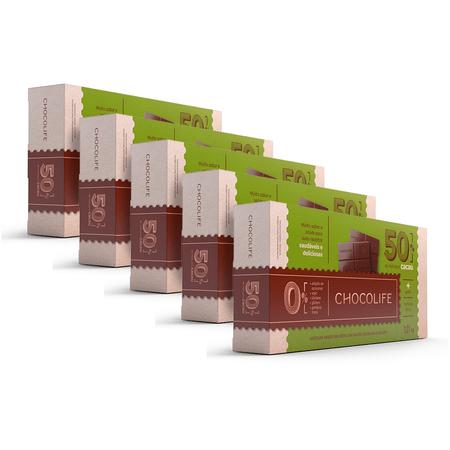 Combo-Barra-de-Chocolate-Zero-Acucar-Meio-Amargo-101kg-50--Cacau-Chocolife-Linha-Food-Service-5-Unidades