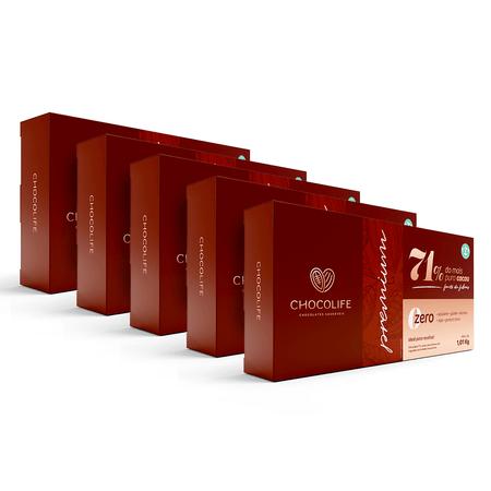 Combo-Barra-de-Chocolate-Zero-Acucar-Amargo-101kg-71--Cacau-Chocolife-Linha-Premium-Food-Service-5-Unidades