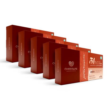 Combo-Barra-de-Chocolate-Zero-Acucar-Amargo-101kg-51--Cacau-Chocolife-Linha-Premium-Food-Service-5-Unidades
